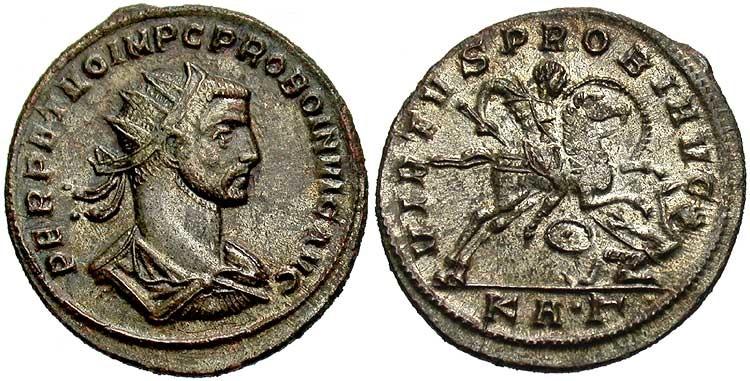L'Imperatore Probo raffigurato su di una moneta.