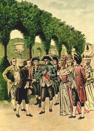 Parmentier offre un bouquet di fiori di patata a Luigi XVI e Maria Antonietta